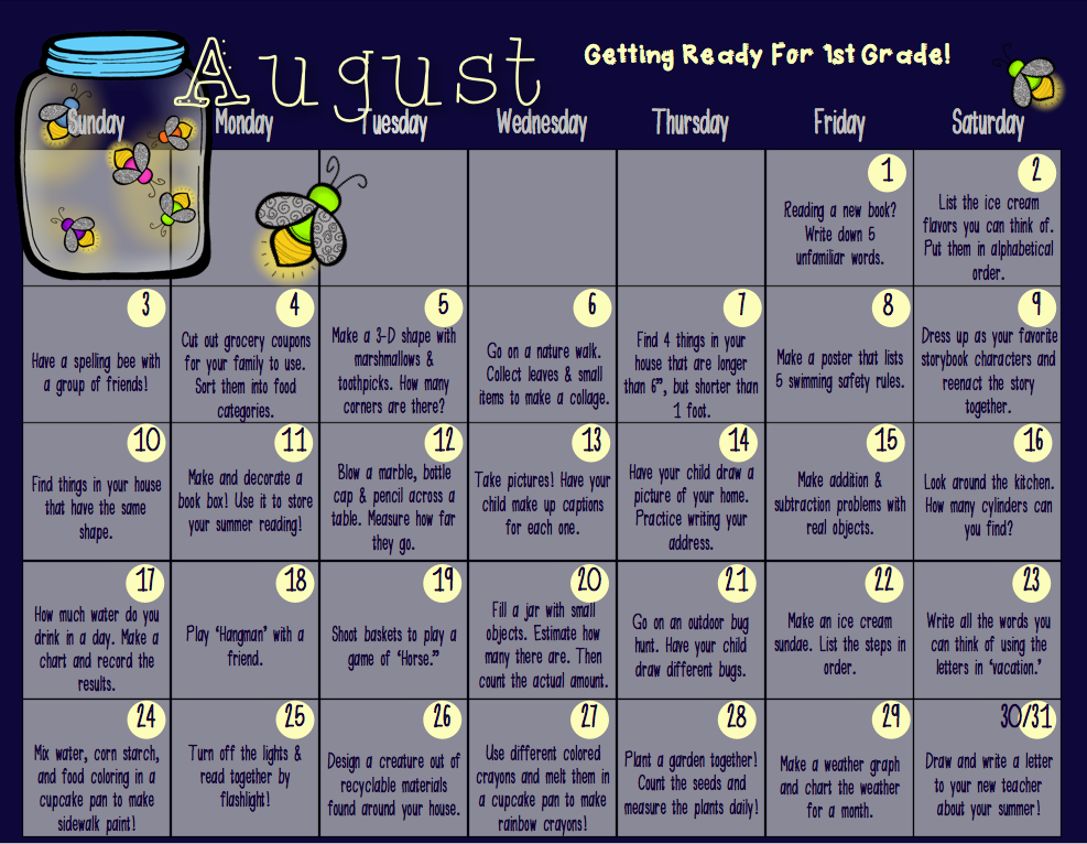 http://www.teacherspayteachers.com/Product/Summer-Activity-Calendar-for-Kidnergarten-2nd-Grade-1270786