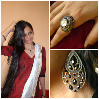 indianwear, fashion blogger, statement ring, statement earrings, red punjabi dress,traditional outfits, Indianwear, How to wear indian outfits