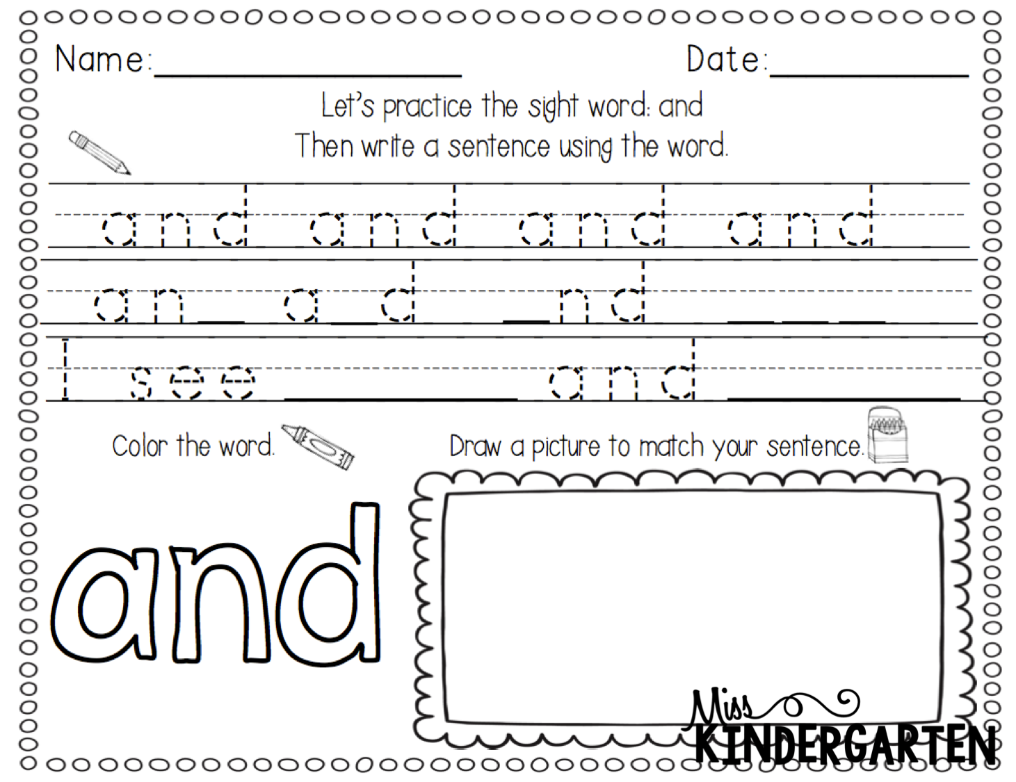 Worksheet Sight Words For Kindergarteners more sight words miss kindergarten you can check out my word writing activities by clicking on the images below