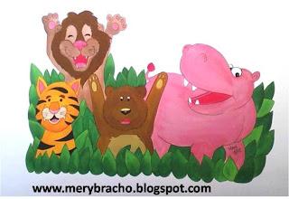 mural de animales en consultorio dental animales felices por mery bracho