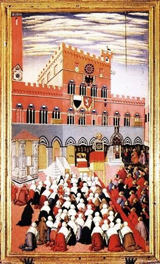 Sano di Pietro: San Bernardino predica in  piazza il Campo (1445 ca)