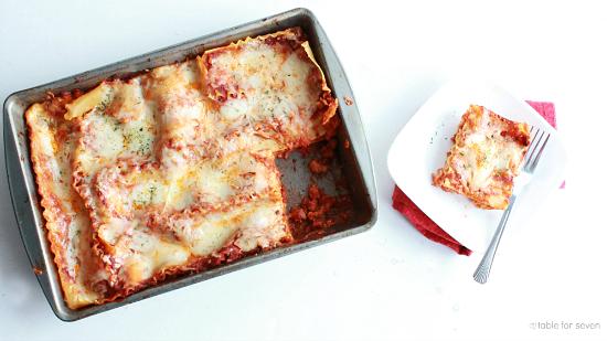 Three Cheese LasagnaNo Ricotta Cheese Table for Seven