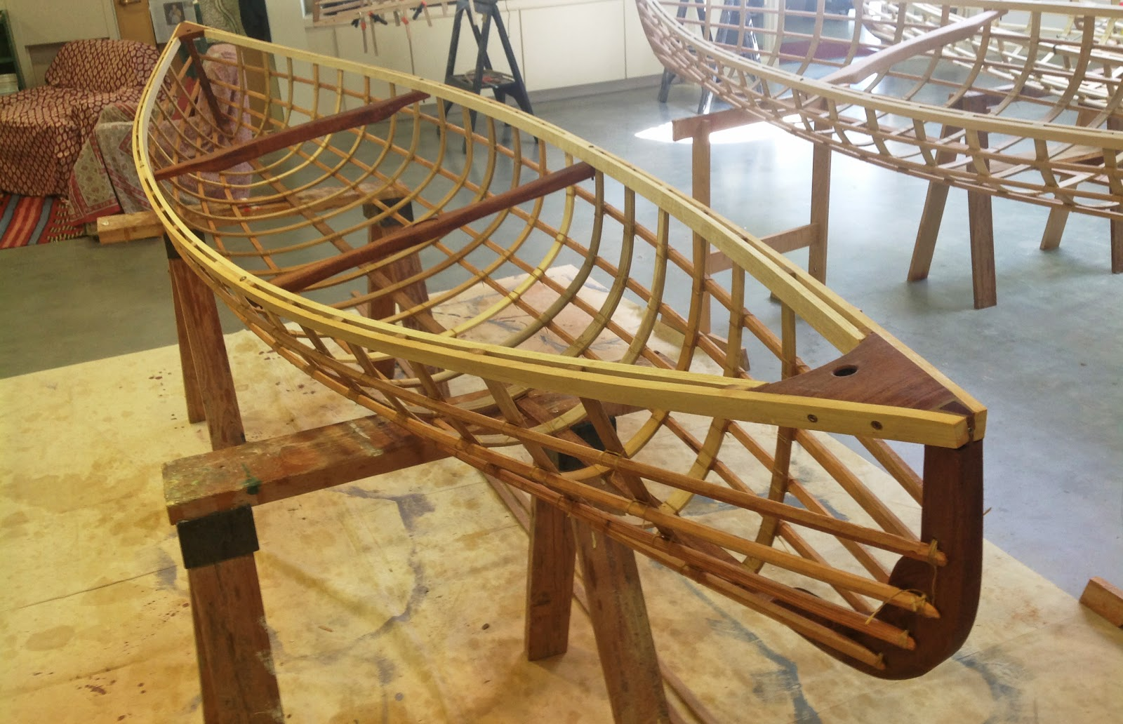 Boat frame oiled and ready for skinning
