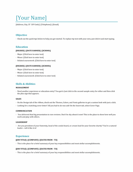 Office Templates: Functional Resume Template, Word