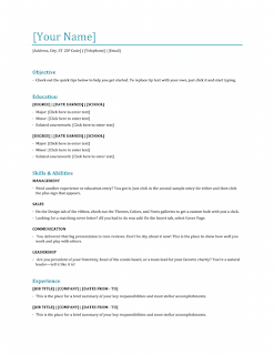 Functional resume template, Word