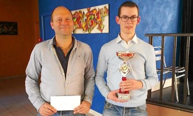 Erwan Bleuzen, vainqueur de l'open d'échecs (à droite), et Marc-André Gutscher - Photo © Le télégramme de Brest