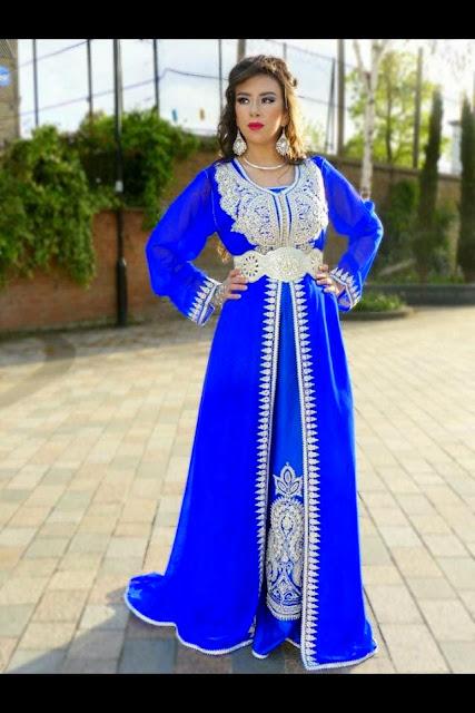 Caftan Marocain Luxe  2015 caftan-bleu-broderie
