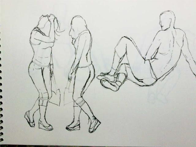 apunte tres figuras con tinta china