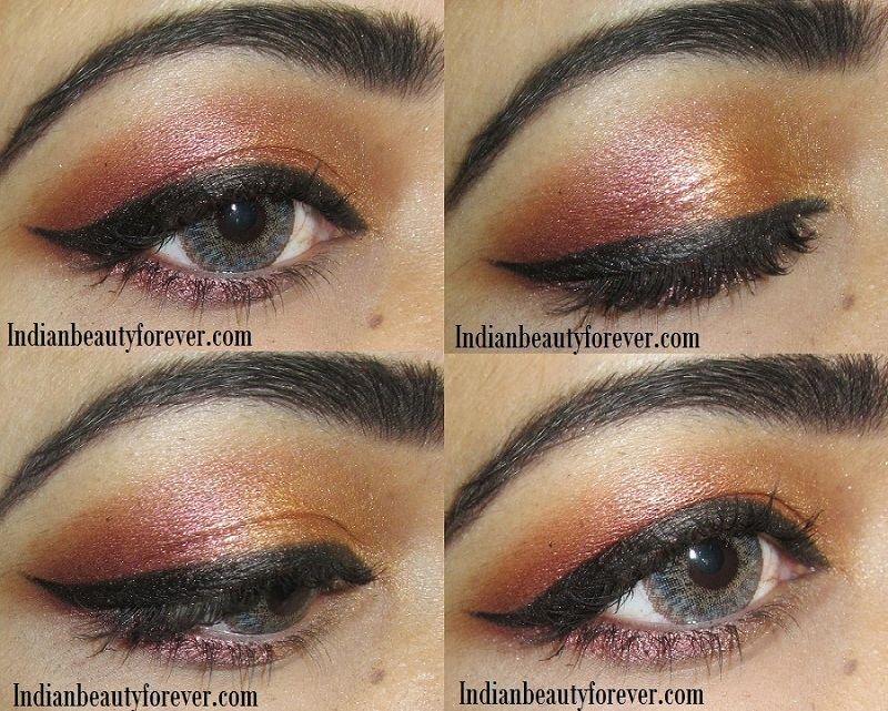 Coppery gold Eye makeup Tutorial steps, ideas for Indian wear
