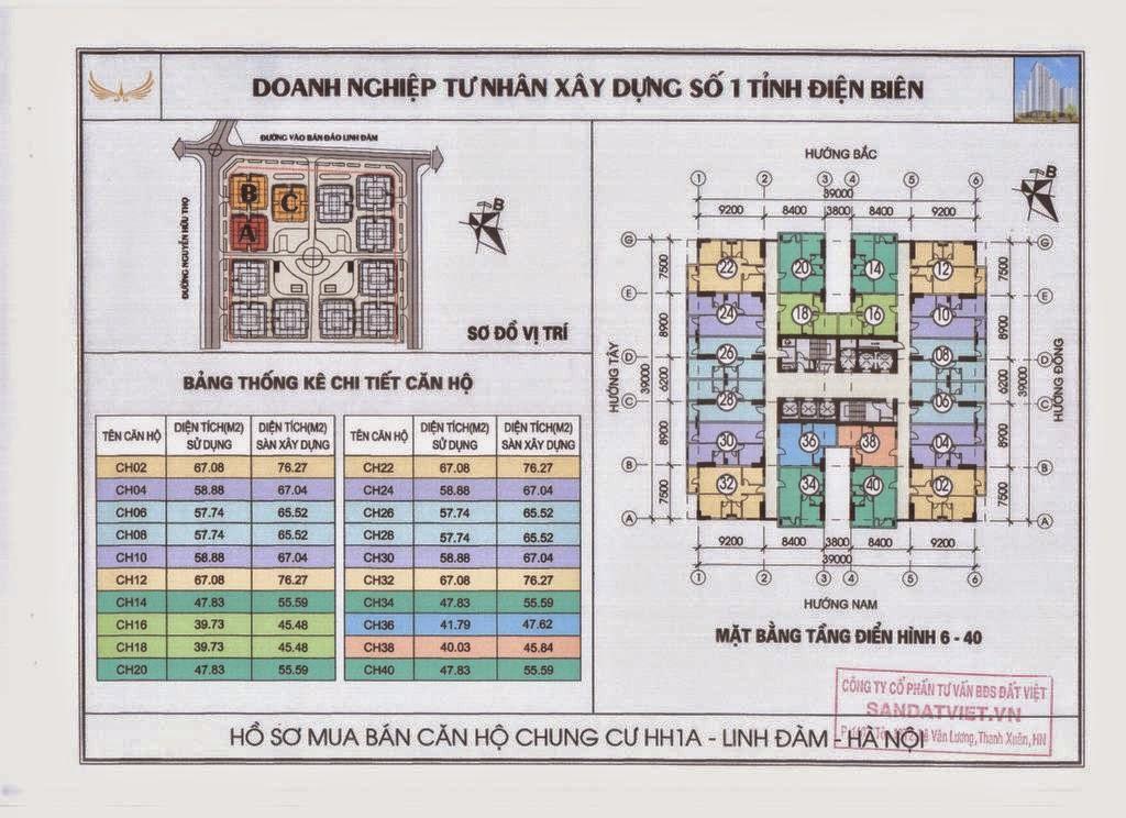 Thiết kế căn hộ tầng 6 đến tầng 40 HH1A Linh Đàm