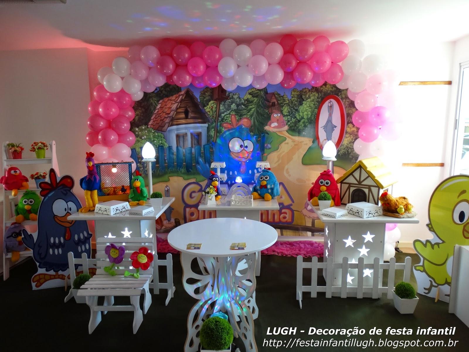 decoração provençal com o tema da Galinha Pintadinha para festa infantil