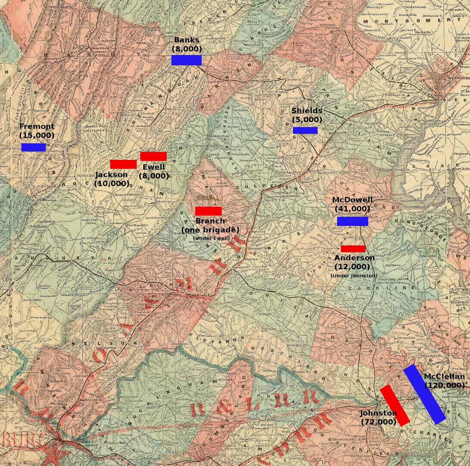 northern virginia showing the relative positions of the armies in may 1862