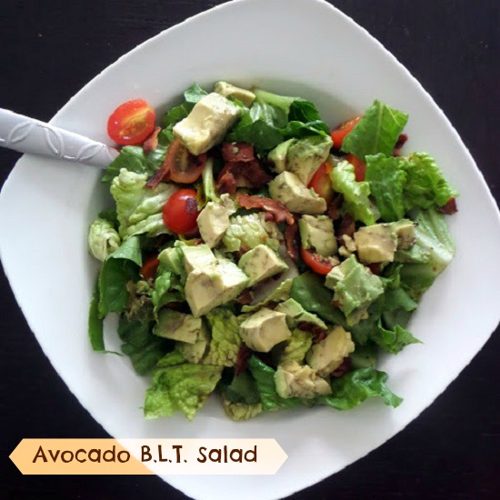 Avocado B.L.T Salad:  Crisp green lettuce tossed in a balsamic vinaigrette and topped with crispy bacon, juicy tomatoes, and creamy avocado.
