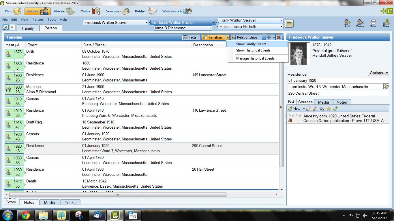 geneamusings timeline report in family tree maker 2012