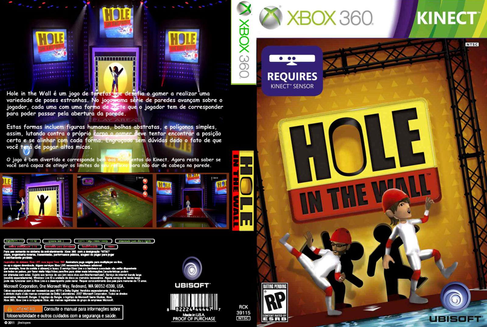 Capa Hole In The Wall Kinect Xbox 360