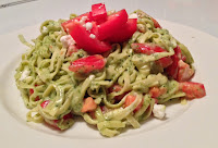 Linguine with Creamy Goat Cheese  Pesto from Top Ate on Your Plate
