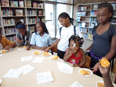children eating snacks at the library