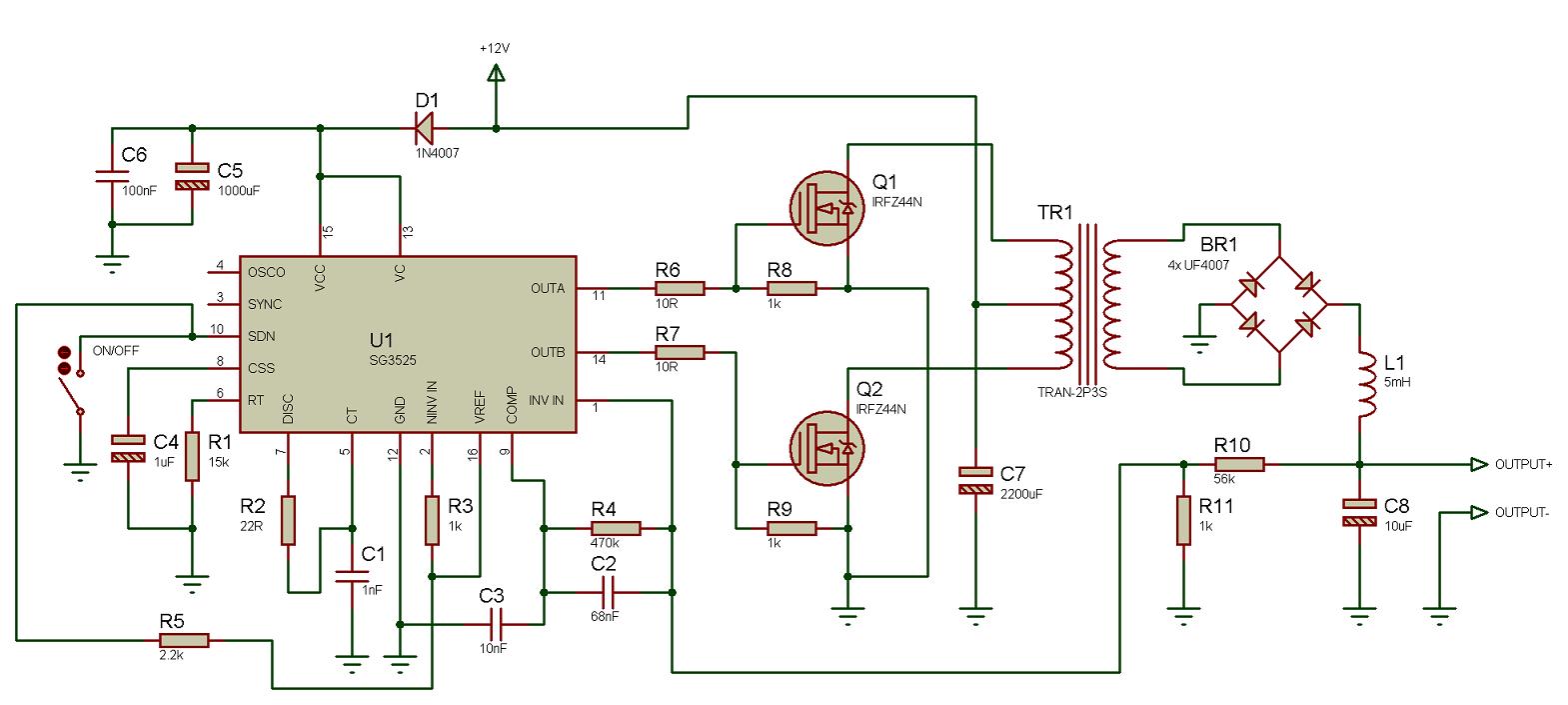 простоая схема управления инвертором