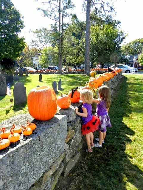 Pumpkins on a Stone Wall in New England - New England Fall Events