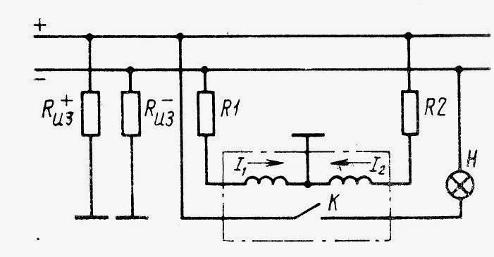 Схема контроля состояния изоляции в судовых сетях постоянного тока