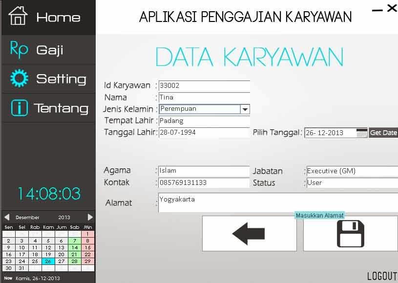 Dan Tampilan Data Karyawan itu sendiri