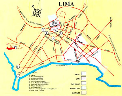 Map of Lima for tourists