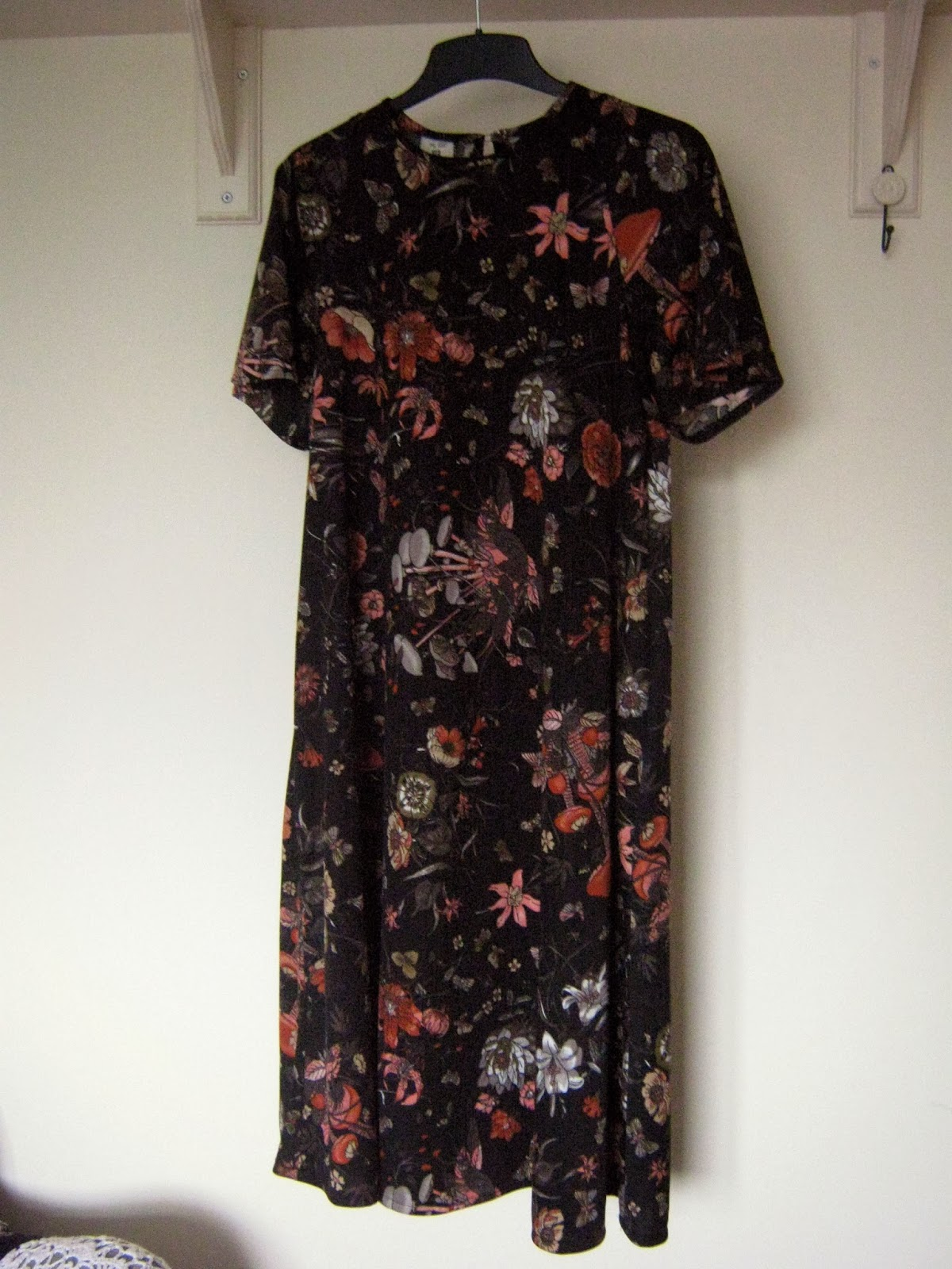 70s midi mushroom patterned dress