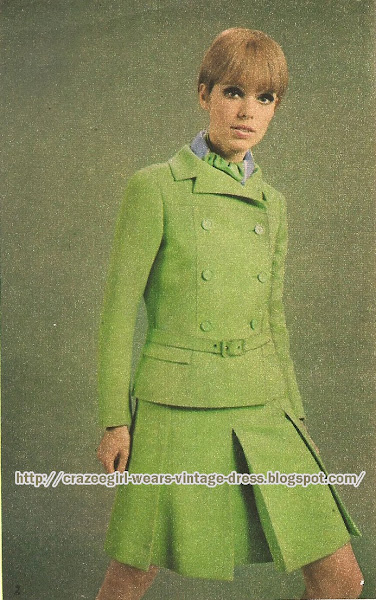green Nina Ricci skirt suit 1967 60s 1960