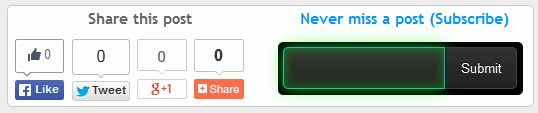 Share with count + Feedburner subscription widget