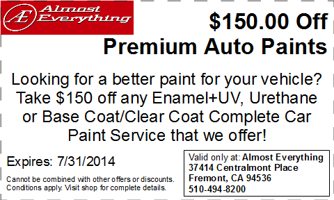 Discount Coupon Almost Everything $150 Off Premium Auto Paint Sale July 2014