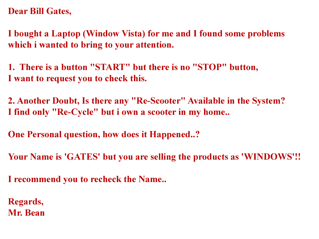 how to write a letter to bill gates
