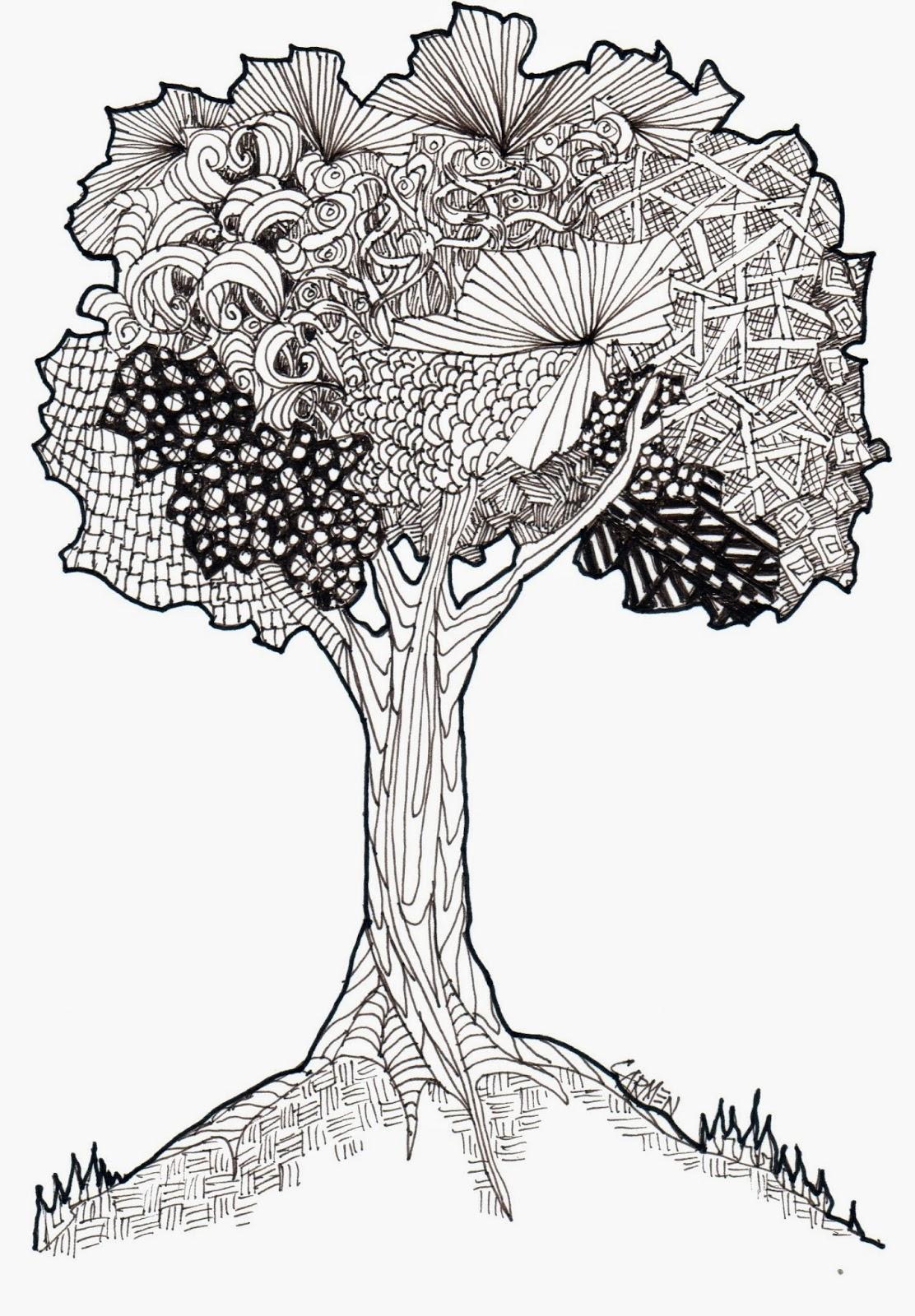 Carmen Beecher Zentangle Tree 8x10 Pen And Ink