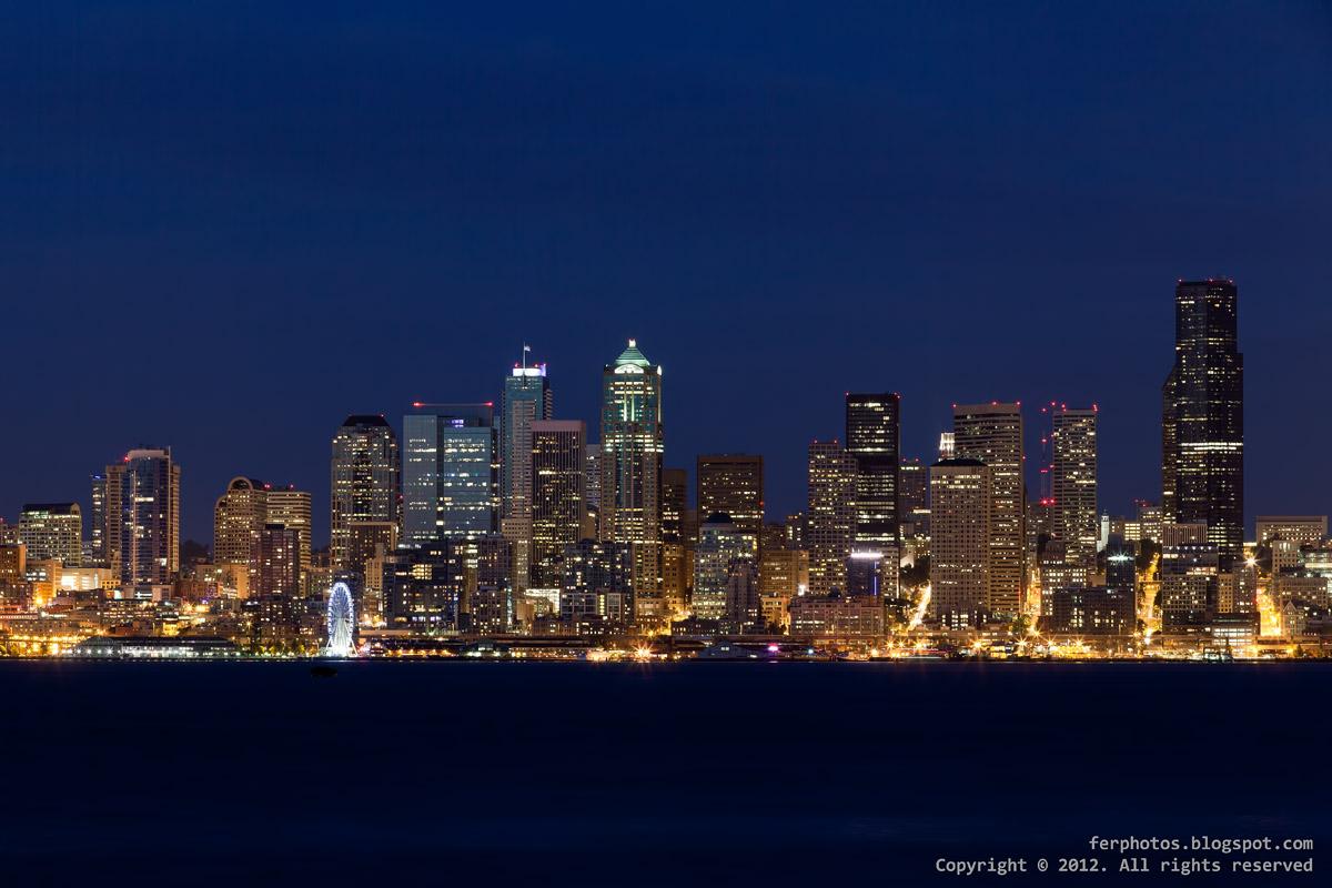 Seattle skyline night skyscrapers