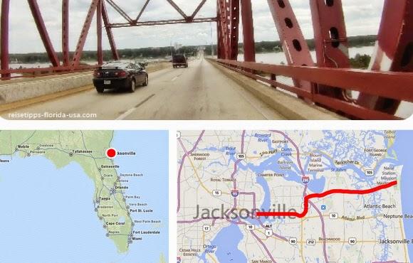 Fahrt von Jacksonville über Aligton nach Thryn Abbey Hanna Park