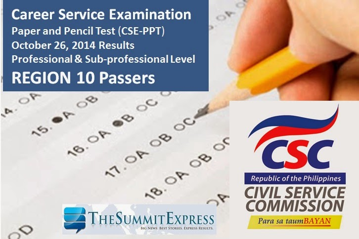 October 2014 Civil Service Exam Results Region 10 Passers