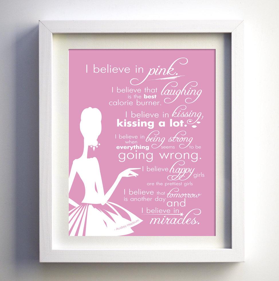 I believe in pink audrey hepburn quote frame the phrase i believe in pink audrey hepburn quote jeuxipadfo Gallery