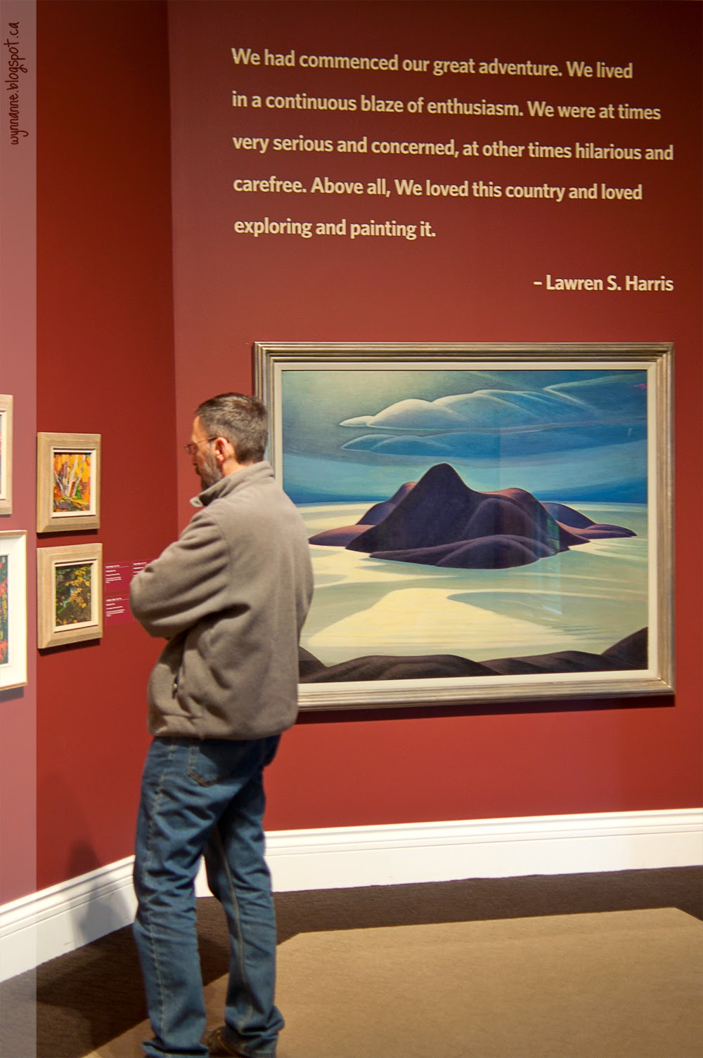 "Lawren Harris quote: ""We had commenced our great adventure. We lived in a continuous blaze of enthusiasm. We were at times very serious and concerned, at other times hilarious and carefree. Above all, we loved this country and loved exploring and painting it."""
