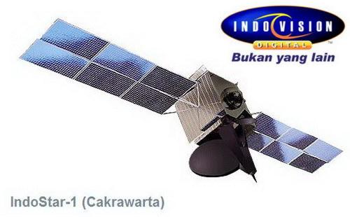 Gambar satelit Cakrawarta 1 atau IndoStar 1 sebagai satelit pemancar pertama siaran Indovision.