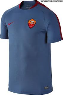 gambar desain Bocoran jersey training As Roma warna biru akhir musim 2016