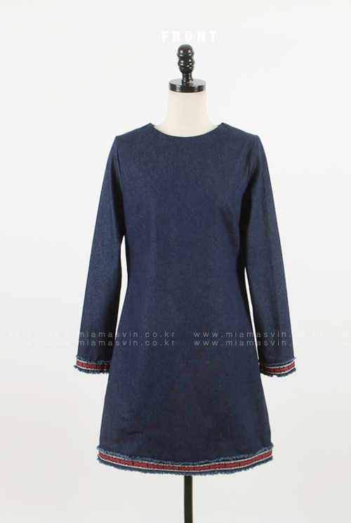 Denim Shift Dress with Contrast Trim