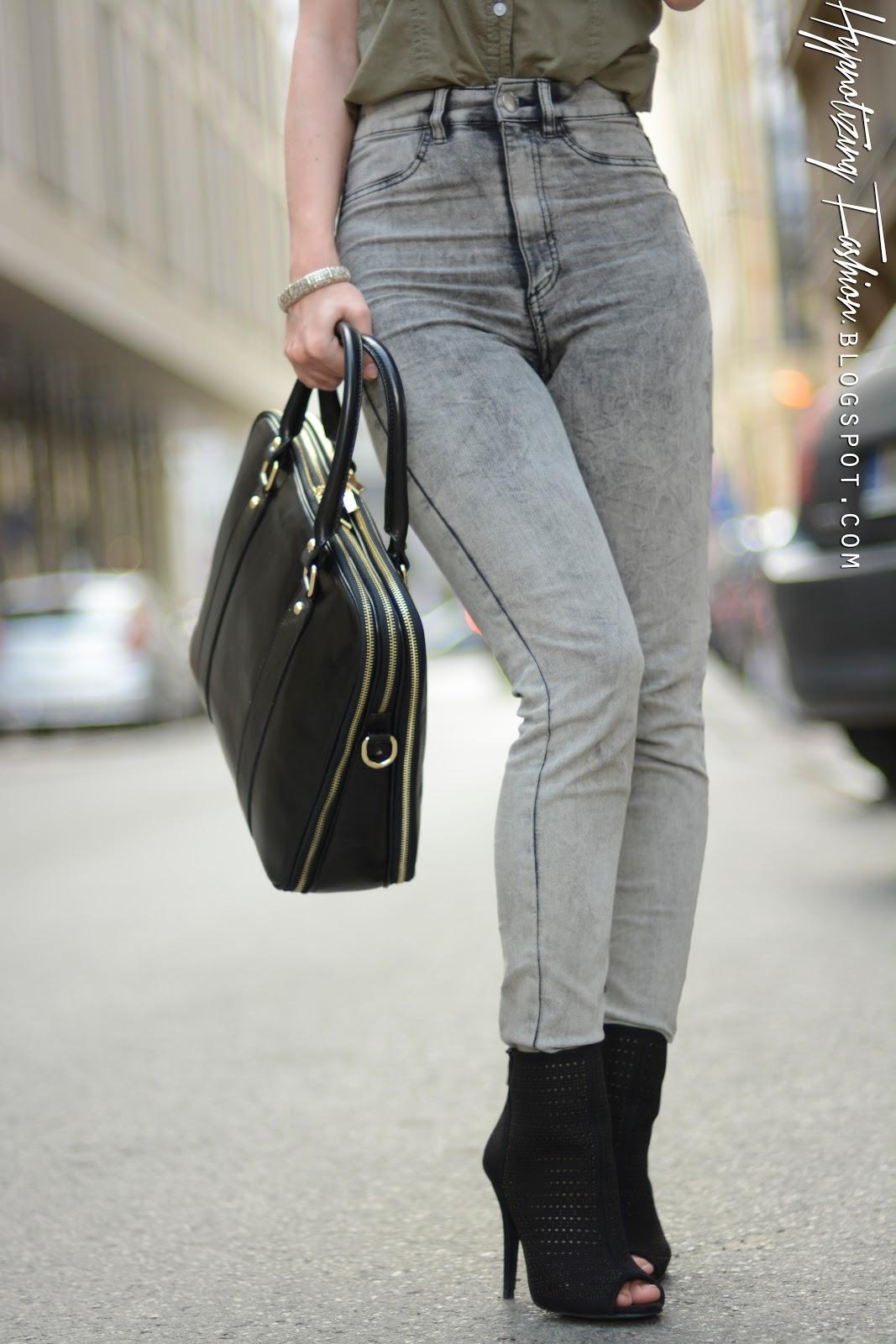 szare jeansy stylizacje