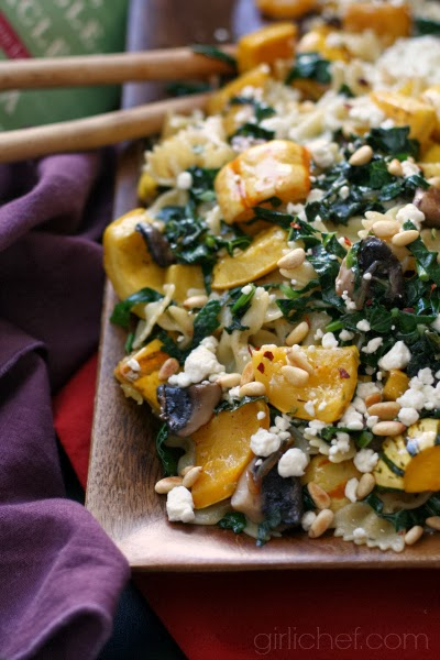 Roasted Delicata Squash and Tuscan Kale Pasta | www.girlichef.com