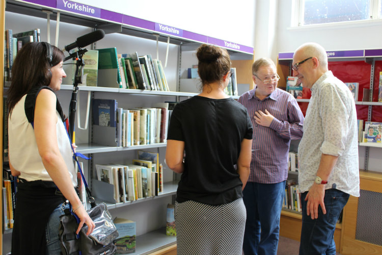 Recording Sixty by Sixty, from left, sound recorder Eloise Whitman, actors Emma Manton and Russell Dixon and SJT Artistic Director Chris Monks at Scarborough Library