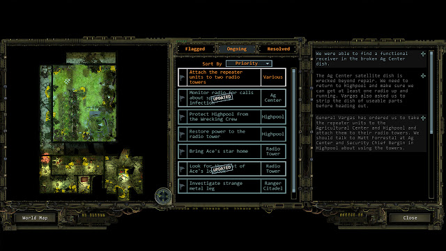 Wasteland 2 quest journal screen