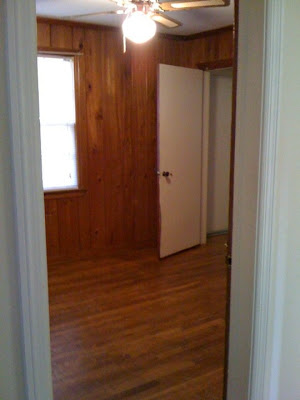 paneling, wood, craft, office, hardwood, remodel, DIY, ugly, 1940's, ceiling fan,