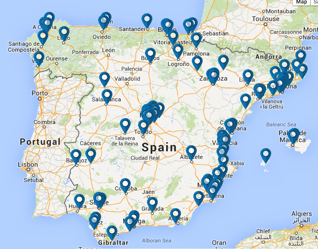 Map of Decathlon stores in Spain