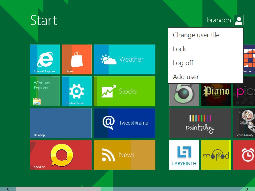 on the Windows 8 Metro UI