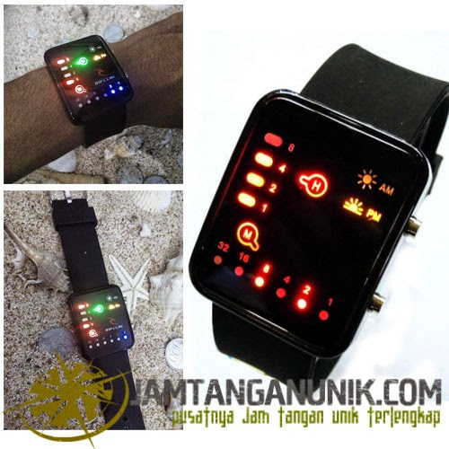 led watch tokyo flash jam tangan unik binary rubber
