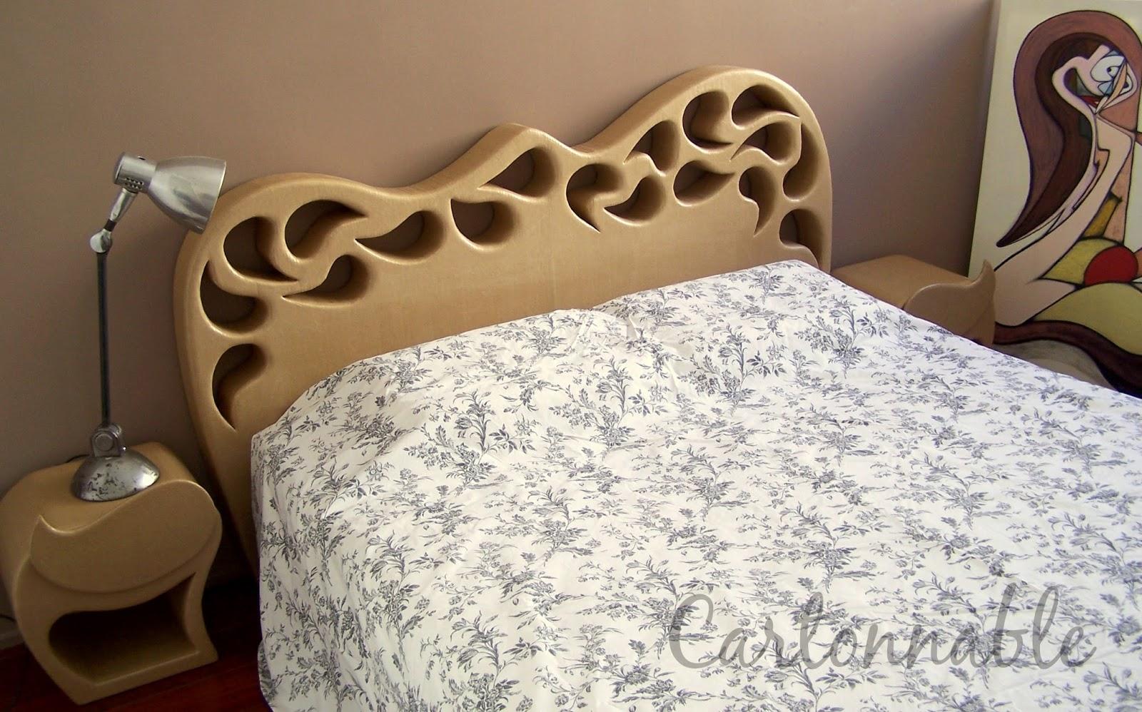 Multi artis tete de lit et chevets en carton - Meuble tete de lit ...