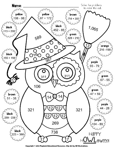 Halloween Addition amp Subtraction Coloring Sheet